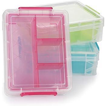 com-four® Caja de plástico con Compartimentos Separados - Caja de ...