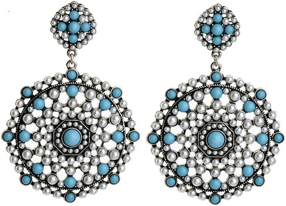 Bling Toman Sparkling Pearl Chandelier Earrings