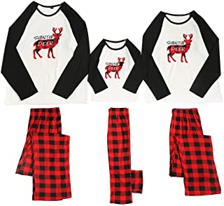 Sharemen Christmas Suit Women's O-Neck Top Long-Sleeved Home wear Clothes with Elastic Waist Plaid Trousers