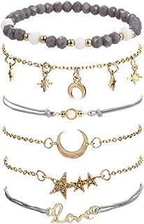 Beaded Bracelets for Women - Adjustable Charm Pendent Stack Bracelets for Women Girl Friendship Gift Rose Quartz Bracelet Links with Pearl Gold Plated