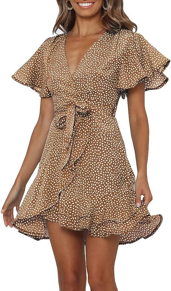 Chuanqi Womens Polka Dot Wrap V Neck Mini Dress Summer Beach Ruffles Hem Short Dresses with Belt