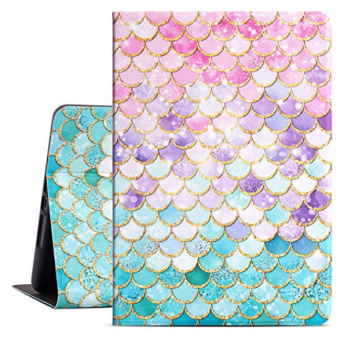 Drodalala 10.2 Inch iPad Cover for 8th Generation iPad 2020, 2019 7th Gen iPad Cover for Girls Women, Premium Leather Soft TPU Adjustable Viewing Stand, Auto Awake / Sleep (Mermaid Pink Fish Scale)