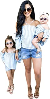 Mommy and Me Clothes Baby Girl Striped Print Off Shoulder T-Shirt Tops Family Matching Short Sleeve Halter Tunic Tops