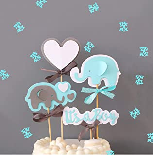 Blue Elephant Cake Topper It's a Boy Heart Blue Confetti Blue Elephant Themed Cupcake Picks for Kids Birthday Baby Shower Decorations Supplies