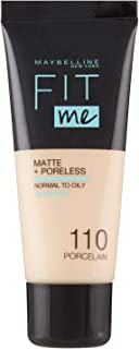 Maybelline New York Fondotinta Fit Me Matte&Poreless, Finish Opacizzante e Fissante, Tonalità 110 Porcelaine