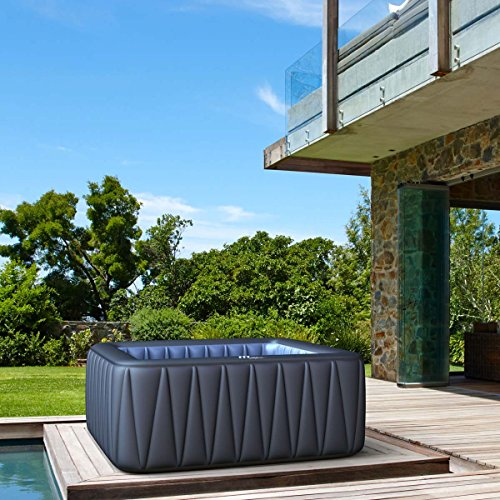 Whirlpool MSpa aufblasbar für 6 Personen SPA 185x185cm In-Outdoor Pool 132 Massagedüsen Timer Heizung Aufblasfunktion per Knopfdruck TÜV geprüft Bubble Spa Wellness Massage