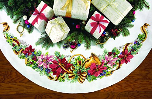DIMENSIONS Counted X Stitch-Holiday Harmony Tree Skirt, 100% Cotton, White, 114.5 x 114.5 x 0.1 cm