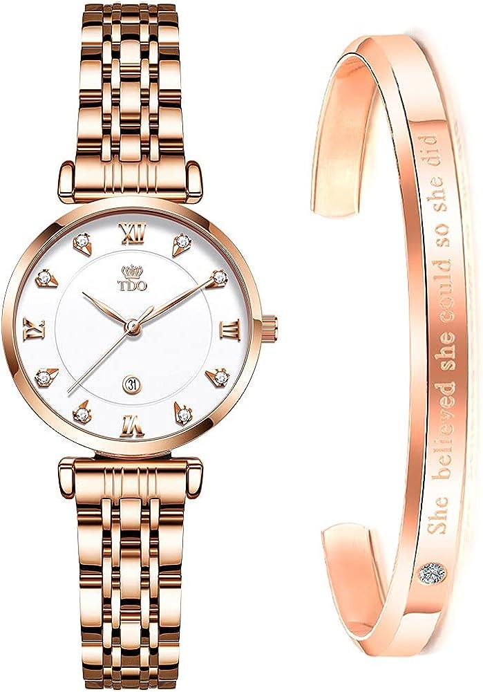 TDO Popular product Women Choice Watch Rose Gold Quartz Moveme Stainless Steel Japanese