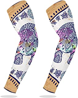 Sports Compression Arm Sleeve Cooling Sun Protection for Baseball Basketball Football Running Driving Cycling for Boys Youth Girls Kids Men Women with Vintage Elephant Mandala Floral - 1 Pair