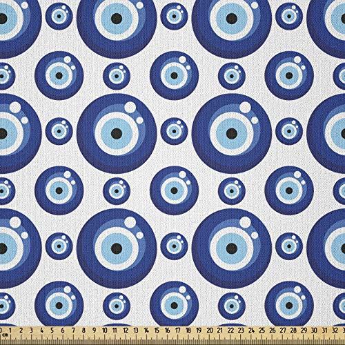 ABAKUHAUS Evil Eye Stoff als Meterware, Symmetrische Figuren, Microfaser Multi Zweck Dekostoff für Kunsthandwerke, 3M (230x300cm), Hellblau Weiß Blau