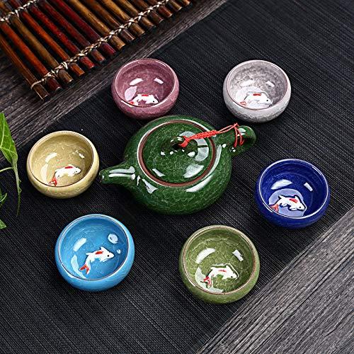 CYGG Celadon Juego de té de pescado de cerámica hervidor de té...