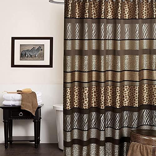 Popular Bath 781205 Safari Stripes Duschvorhang, Schokoladenbraun