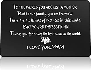 Mother's Day Gifts Engraved Wallet Card Gift for Mom From Daughter Son Thank You for Being the Best Mom in the World Appre...