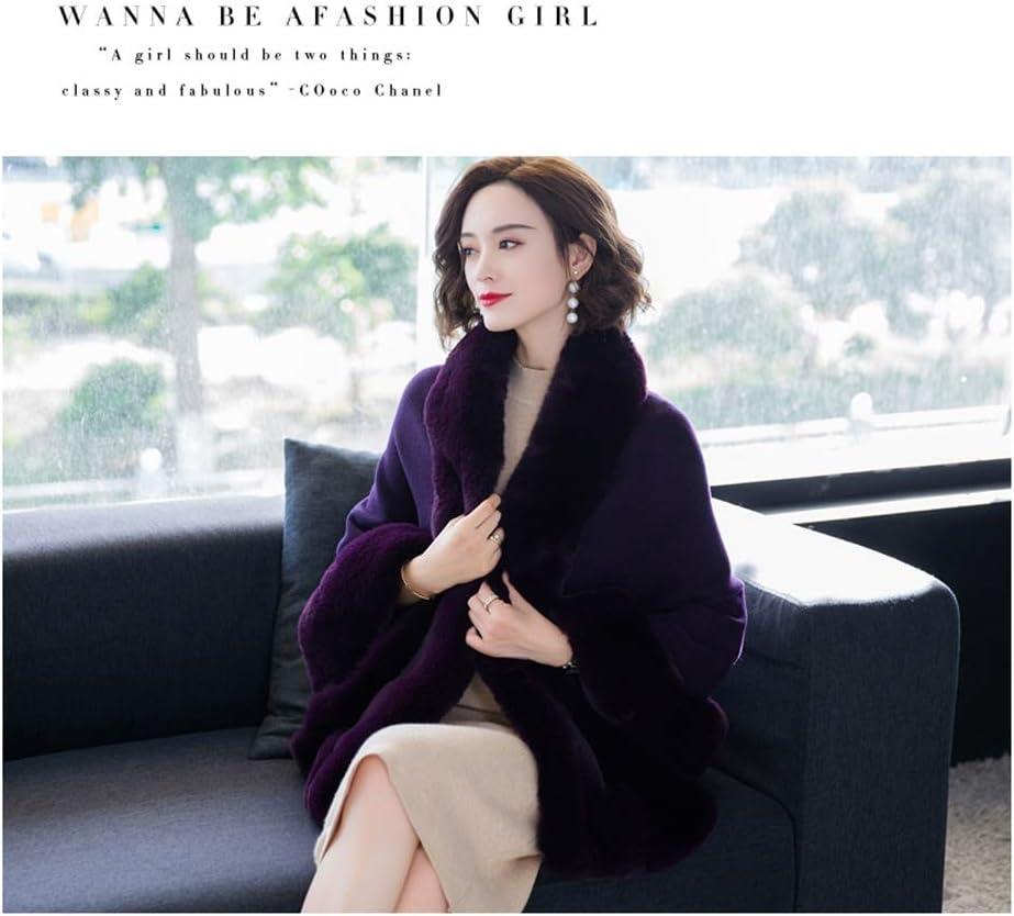 LGQ-YF 2020 Frauen Faux-Pelz-Verpackungs-Schal Hochzeit, Lange Cape Brautverpackungen Shrugs Stola Umhang Winter-Abend-Partei-Brautjungfern-Jacke Mäntel Warm (Color : Black) Purple