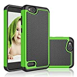 NJJEX for ZTE Blade Vantage Case, ZTE Tempo X/AVID 4 Case/N9137/Z839 Case, [Nveins] Shockproof Hybrid Dual Layers Rubber Plastic Shell Impact Defender Bumper Rugged Cover [Green] Compatible with ZTE
