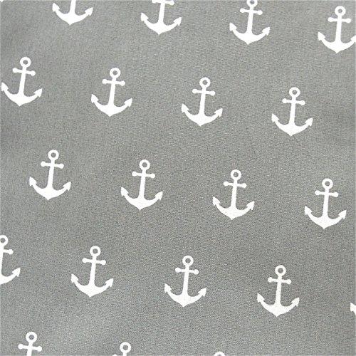 0,5m Stoff Anker grau/ weiß Motivgröße 2,5cm Meterware 100% Baumwolle 1,4m breit