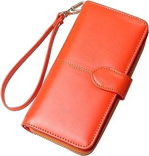 Cckuu Fashion Wax Leather Purse Clutch Wallet Women New Large Capacity Purse Bag