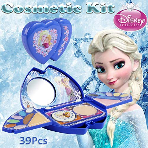 kitabetty Kit Cosmético 39PCS Para El Juguete De Maquillaje Disney Frozen Princess Series | Lavable Y No Tóxico | Maquillaje Princesa Real Con Espejo | Regalo Ideal Para Niños.