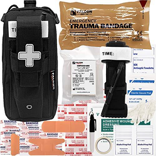 Falcon Medi-Tac EveryDay Carry Trauma Kit EDC IFAK Easy Carry Lightweight (Black)