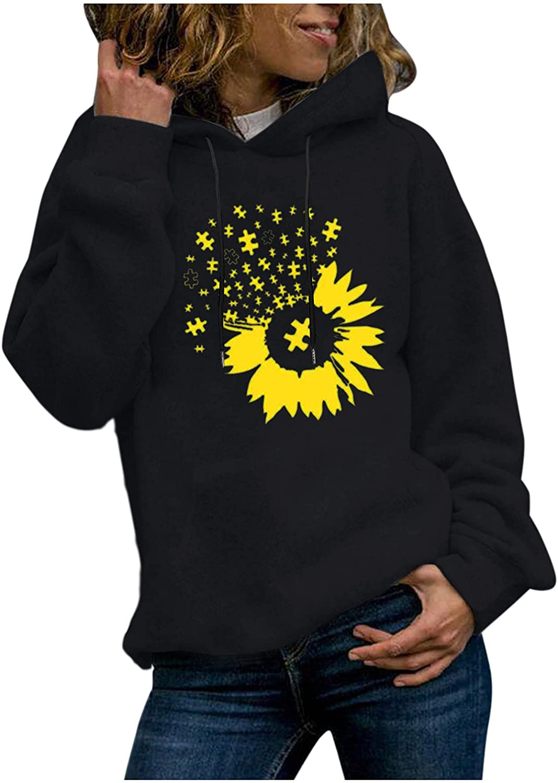 UOCUFY Hoodies for Women, Women Girls Casual Loose Cute Printed Sweatshirts Long Sleeve Pullover Tops Sweaters