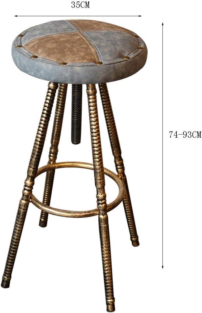 Ascenseur de chaise rétro, fer art industriel vent tabouret haut tabouret bar café restaurant en détresse pu chaise à manger 74-93cm A