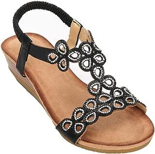 Womens Elastic Band Closure Shining Crystal Rhinestones Low Heel Sandals,SQ-3C6