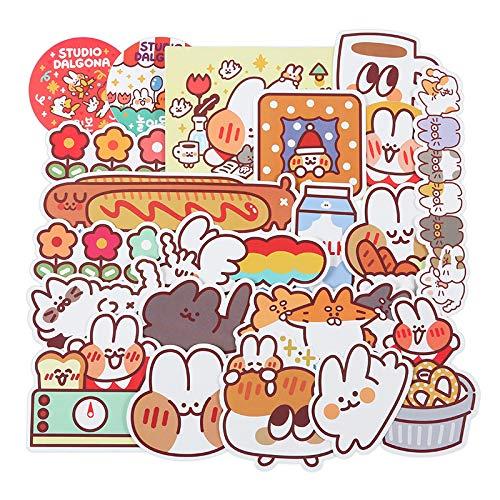 AXHZL Dibujos Animados Lindo Conejo Pegatina Plana para Cuaderno japonés y Coreano Chica Impermeable Maleta Pegatina para Maleta 30 Uds