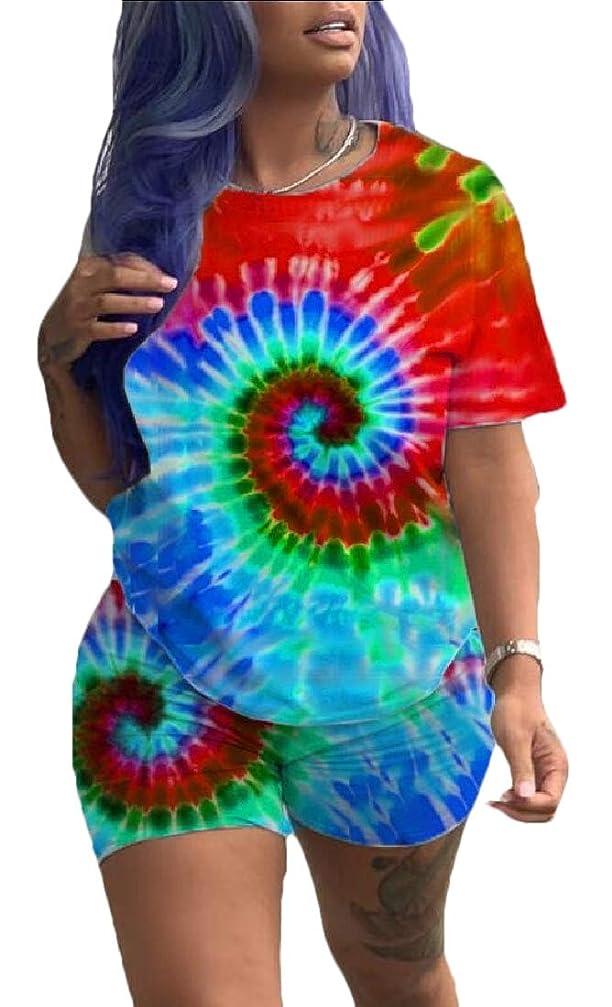 離れたヒステリック砂利Womens 2 Pieces Outfits Summer Floral Print Short Sleeve Crop Top Set