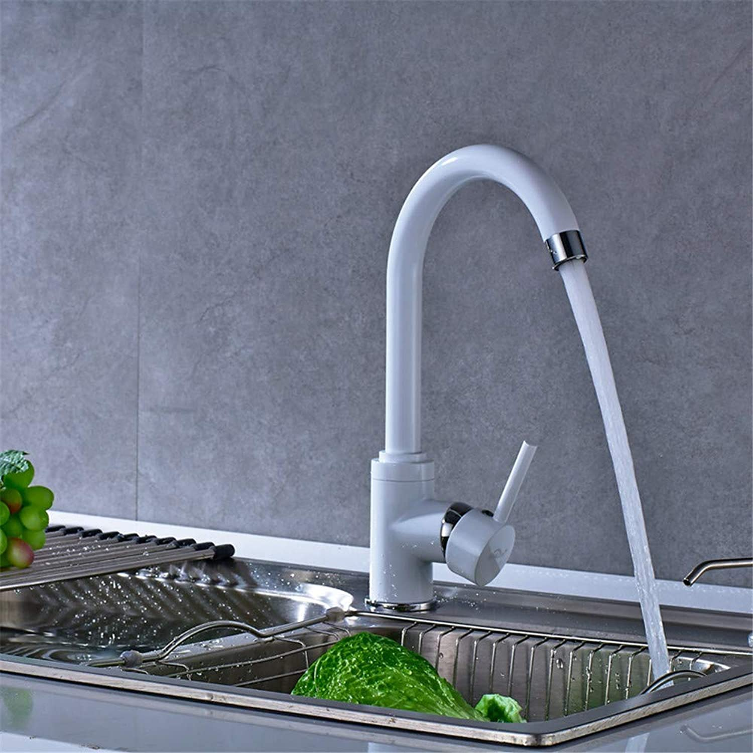 Copper Kitchen Faucet White Baking Paint Cold Water Mixer redating Kitchen Sink Faucet Single Handle 360 Degrees redation