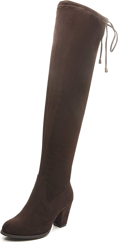 SAVAII Women's Round Toe High Heel Chunky Knee High and Up Boots