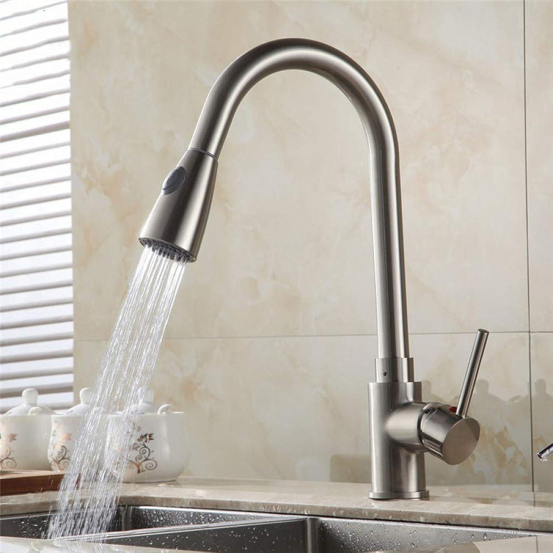 WHFDRHSLT Küchenarmaturen Messing Nickel gebürstet 1 Loch Waschbecken Wasserhahn