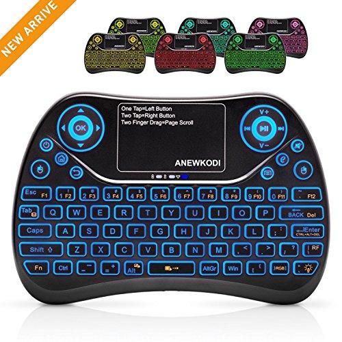 ANEWKODI Mini Teclado con Touchpad Teclado Inalámbrico con Retroiluminación de 7 Colores Combos Recargables para Smart TV, Android TV Box, HTPC, IPTV, XBOX360, PS3, PC, etc.