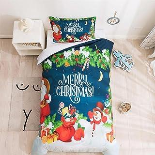 3D-tryckt sängkläder set jul snögubbe sängkläder set ultramjukt tema påslakan för barn färgglad heminredning (140 cm x 180...