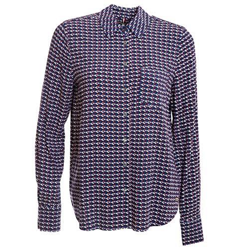 Tommy Hilfiger Damen Bluse Angie Shirt LS blau weiß rot - 8