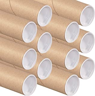 Art Wall Kraft Mailing Tube with Cap, 2-Inch by 15-Inch, 12-Pack