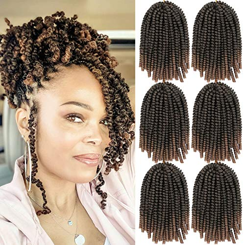 6 Pack Spring Twist Crochet Braiding Hair Bomb Twist Crochet Hair for Black Women Low Temperature Synthetic Hair Extensions for Butterfly Locs Fluffy Twist Braids 15 Strands 50g/Pack (8inch, T27#)