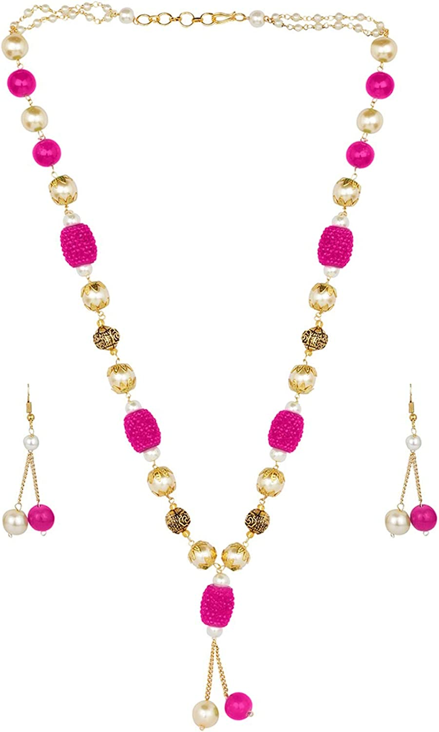 Efulgenz Indian Bollywood Boho Antique Vintage Tribal Beaded Pink Pearl Strand Statement Neckalce Earrings Jewelry Set (Color Options)