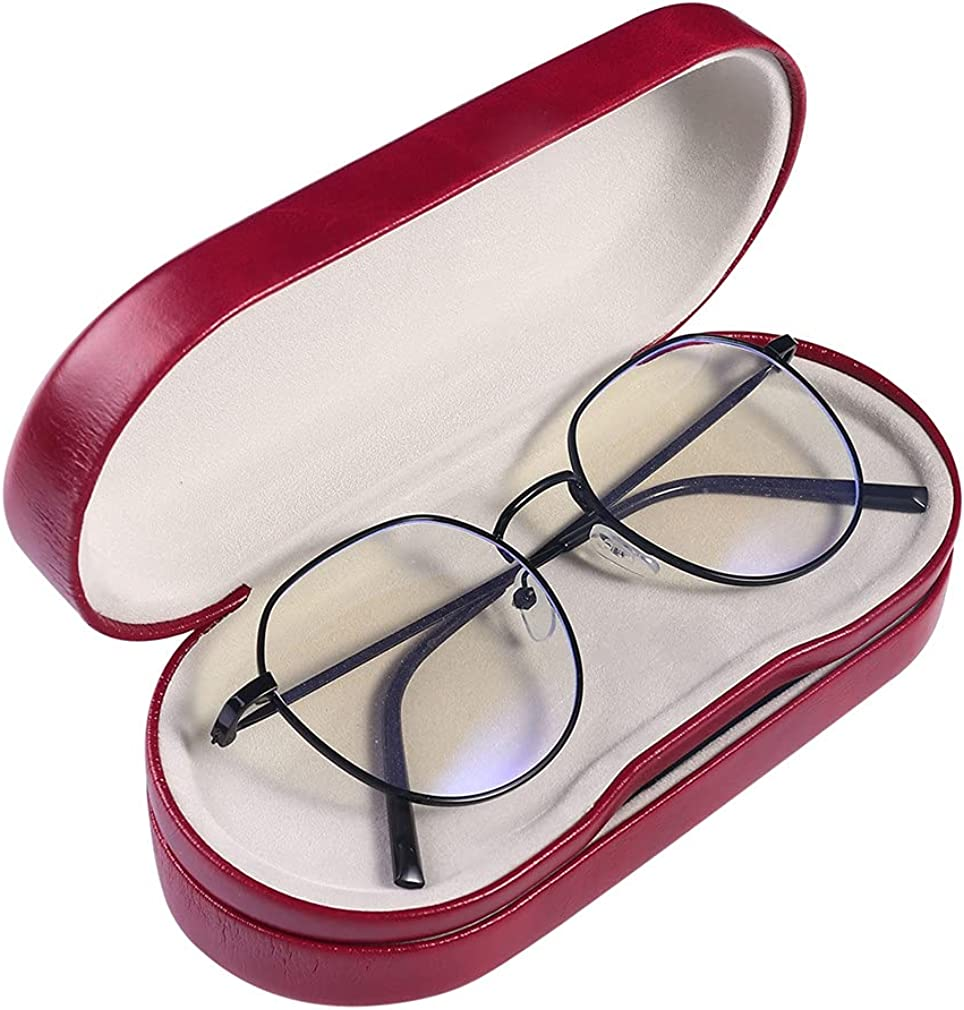 Kanasi Double Glasses Case Hard Shell, 2 in 1 Dual Glasses Case for Two Frames