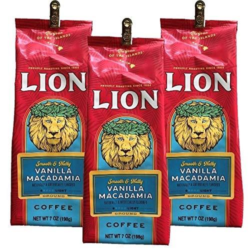 (ライオンコーヒー) バニラ マカダミアナッツ 198g×3パック (粉)