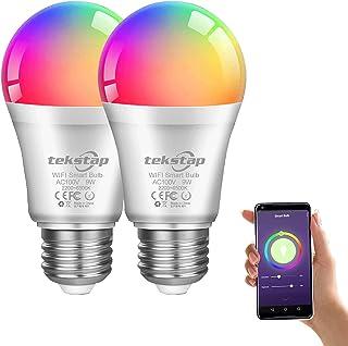 【品質保証 Amazon Alexa認定 LED電球 】TekstapスマートLED電球 Alexa Echo Google Homeで動作 10W 口金直径E26 A19 高輝度1000lm RGB色変更マルチカラー 2.4GHzWiFi 広...