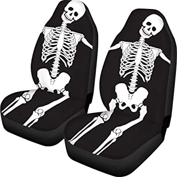 AFPANQZ Skull Skeleton Halloween Black Car Seat Covers Soft Comfortable Front Seat Protector Cover Bag Automotive Interior Saddle Blanket Universal Bucket Seat Cover Fit for Cars & Vans: image