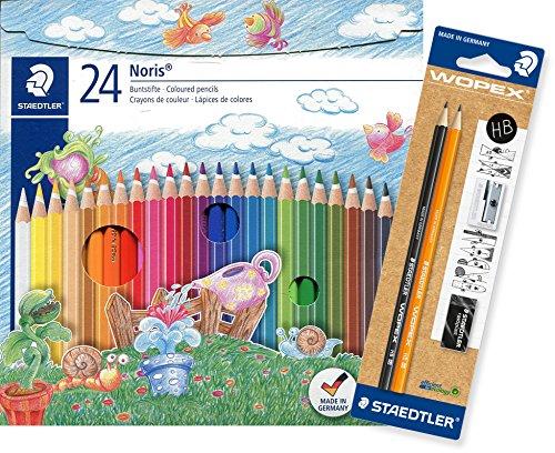 Staedtler Buntstifte Noris Club Set 24 Farben - brillante Farben, leicht zu spitzen; Etui - 144 NC24 [ Promo Bundle ] inkl. 2 WOPEX Bleistifte, Spitzer und Radiergummi