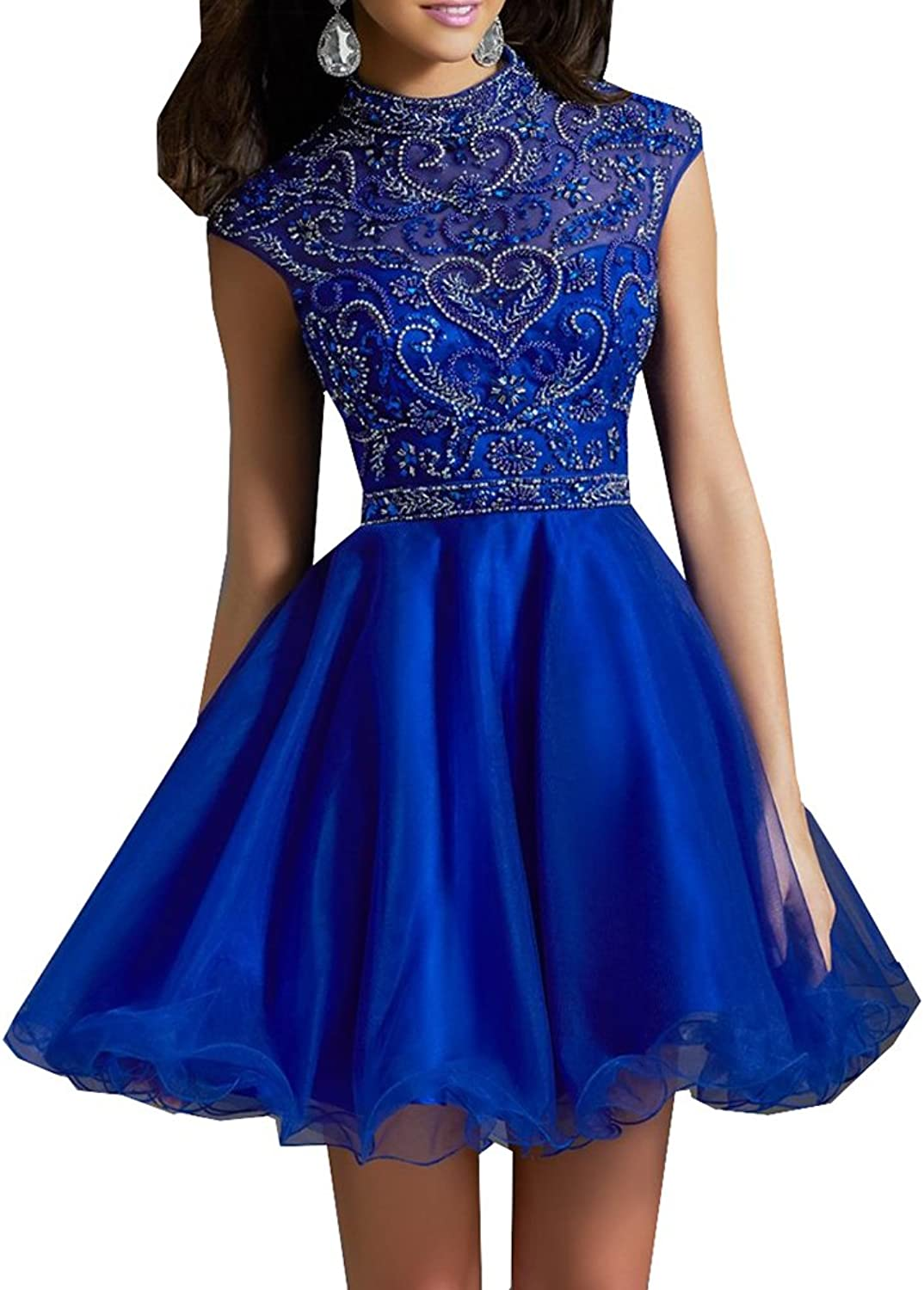 Lavaring Women's Tulle Jewel Hollow Mini Aline Homecoming Dress with Beading