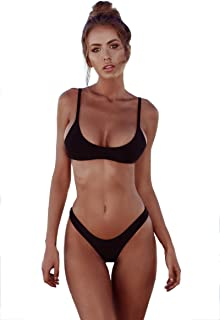 5b9db728bcf60 Womens Solid Color Bikini Set, New Swimwear Brazilian Padded Two-Piece  Swimsuit