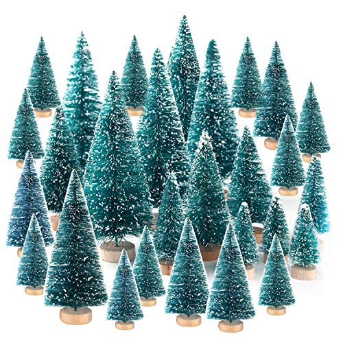 KUUQA 48Pcs Mini Sisal Trees Bottle Brush Trees Diorama Models Miniature Christmas Trees for Crafts, Christmas Party Home Decoration