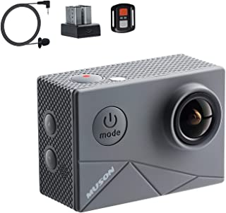 【進化版】MUSON(ムソン) MAX1 アクションカメラ 4K高画質 40M防水 EIS手ぶれ補正 WiFi搭載 170度超広角レンズ 1350mAhバッテリー2個 外部マイク対応 リモコン付き HDMI出力 2インチ液晶画面 アクションカム...