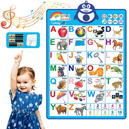 Gifted Genius Electronic Interactive Alphabet Wall Chart, Talking ABC & 123s & Music Poster, Best Educational Toy for Toddler. Kids Fun Learning at Daycare, Preschool, Kindergarten for Boys & Girls