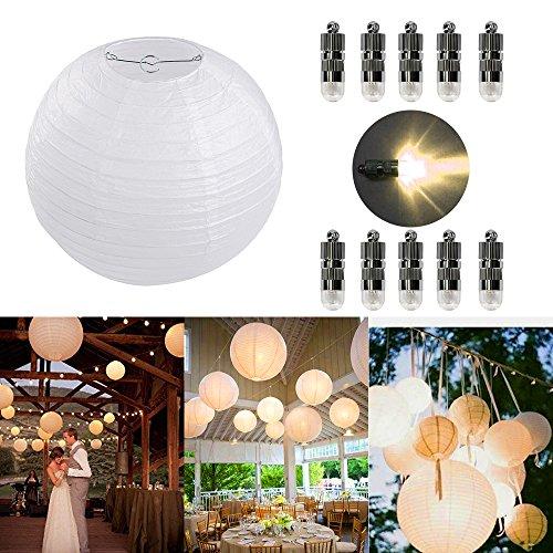 Dazone 10 Stücke Papierlaterne weiß Lampion + 10er Warmweiße Mini LED-Ballons Lichter, rund Lampenschirm Hochtzeit Party Dekoration Papierlampen 8