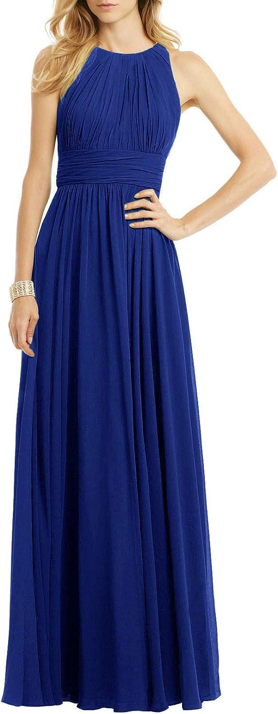 Long Bridesmaid Dresses Chiffon Formal Evening Prom Dress Wedding Maxi Gown Sleeveless