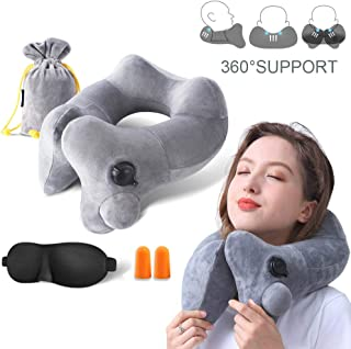 GXFCWSRY Inflatable Travel Pillow,Soft Velvet Inflatable Bone Shape Support,Head and Neck Support Pillows for Airplanes Washable Cover with Portable Carrying Bag Grey
